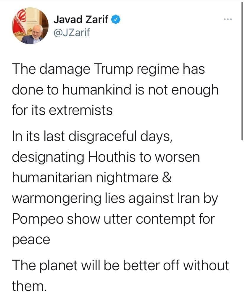 ظریف: کره زمین بدون رژیم ترامپ جای بهتری خواهد بود