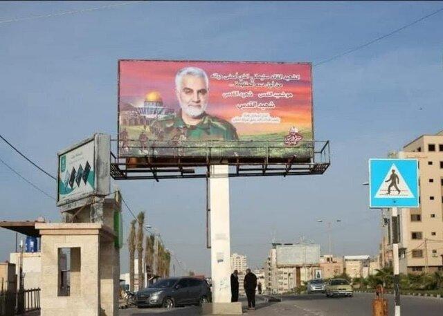 تصویر شهید سلیمانی در غزه و پیام آن برای صهیونیستها