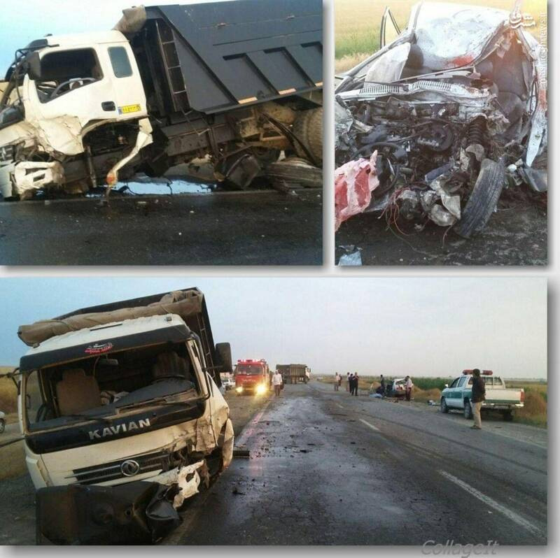 تصویری ناگوار از تصادف مرگبار کامیون با پراید