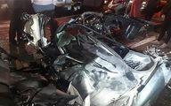 تصاویر: له شدن پژو ۲۰۶ پس از تصادف شدید در بزرگراه شهید باکری