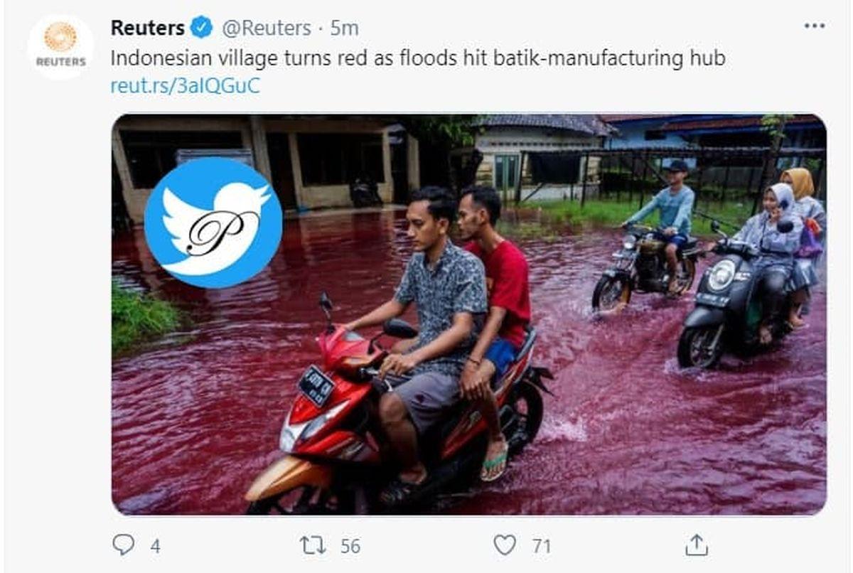 سیلاب خونین در دهکدهای در اندونزی +عکس