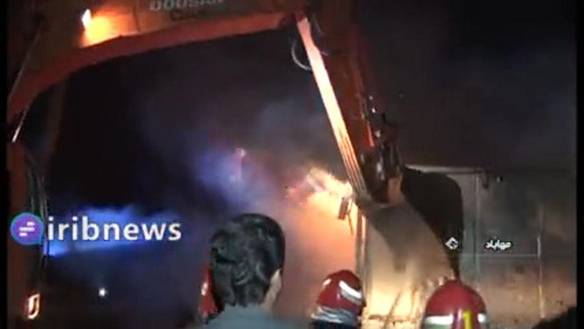 فیلم: آتش سوزی در بازارچه اصغری مهاباد
