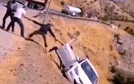 کمک به سرنشین خودروی در حال سقوط +فیلم