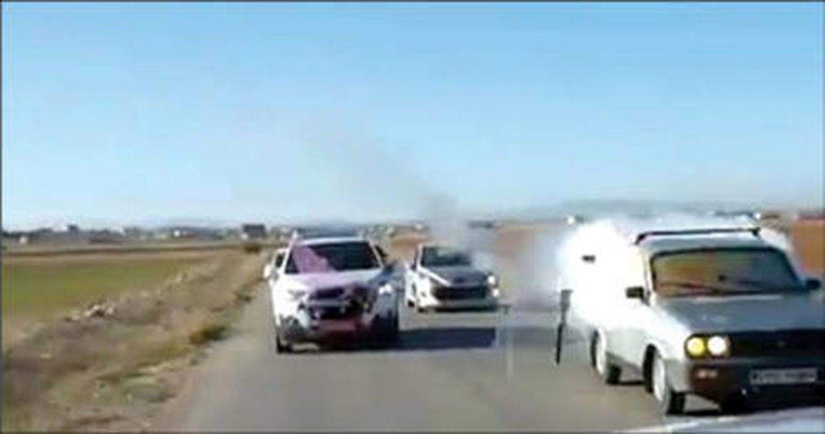 آرپی جی زنی همراهان ماشین عروس حادثه ساز شد! +عکس