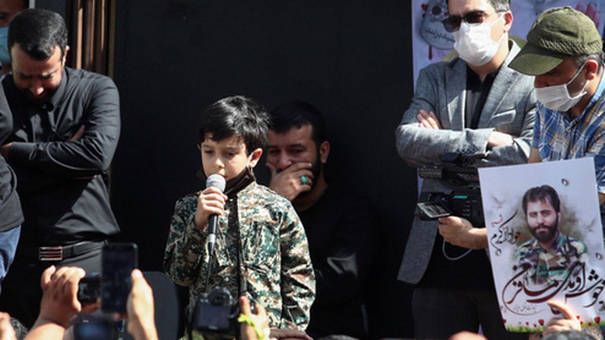 مداحی پسر شهید جواد الله کرم برای پدرش +فیلم