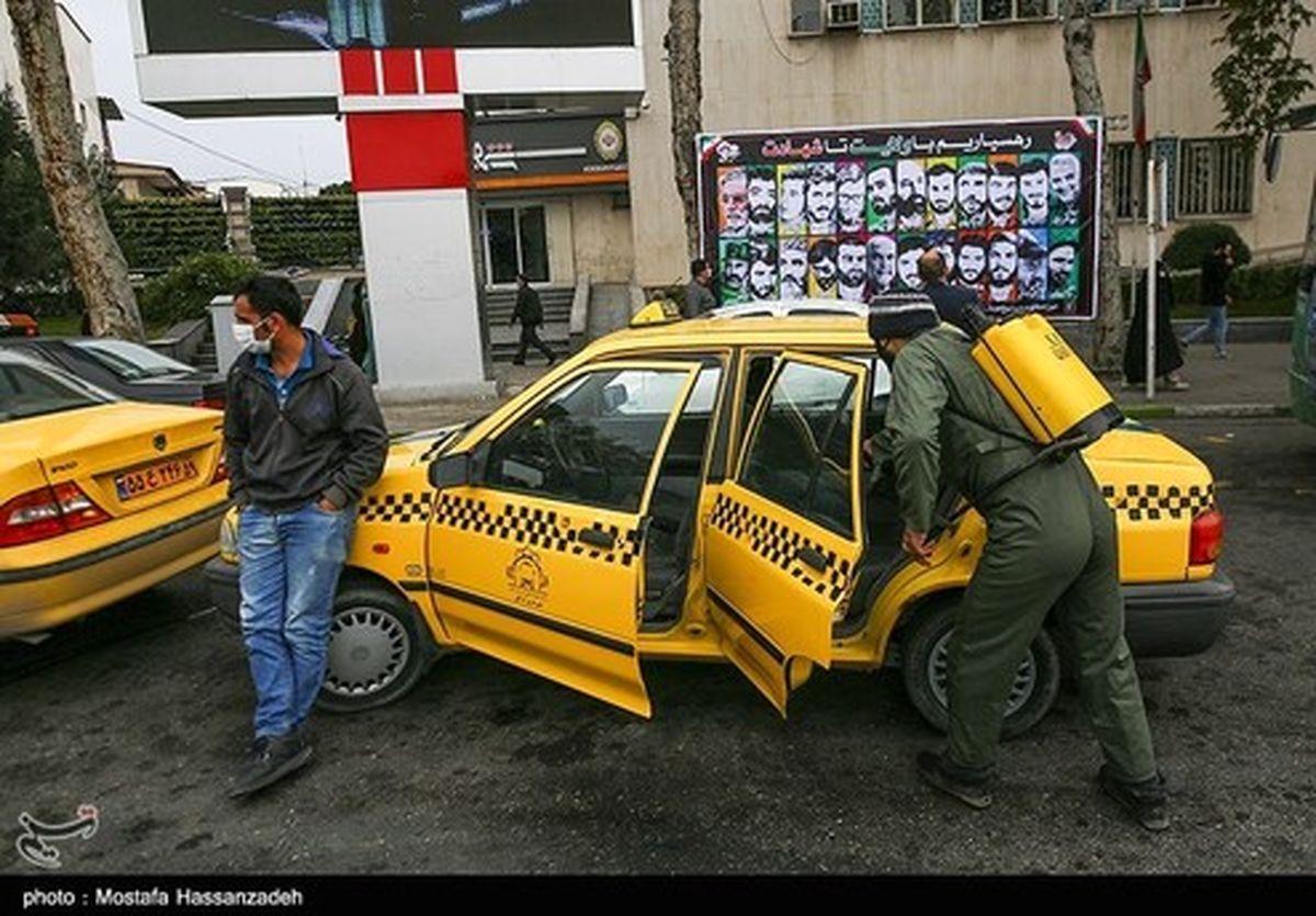 تصاویر: ضدعفونی کردن خودروهای حمل نقل عمومی