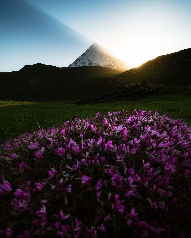 لحظات بالا آمدن خورشید از روی قله پرشکوه دماوند  +عکس