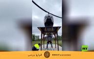 فیلم تماشایی از بلندکردن هلیکوپتر توسط مرد روسی