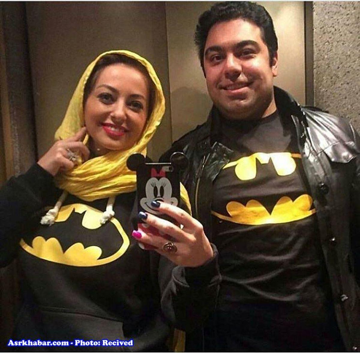 عکس: ست کردن جالب خانم بازیگر با همسرش