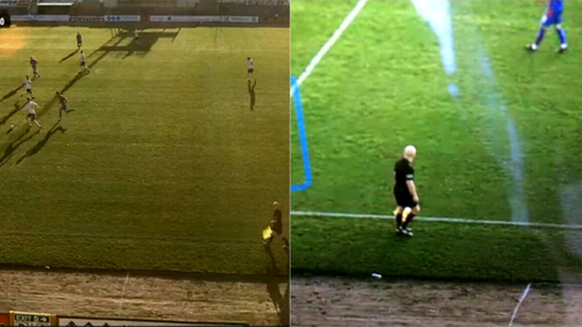 اشتباه گرفتن سر طاس داور با توپ فوتبال سوژه شد! +فیلم
