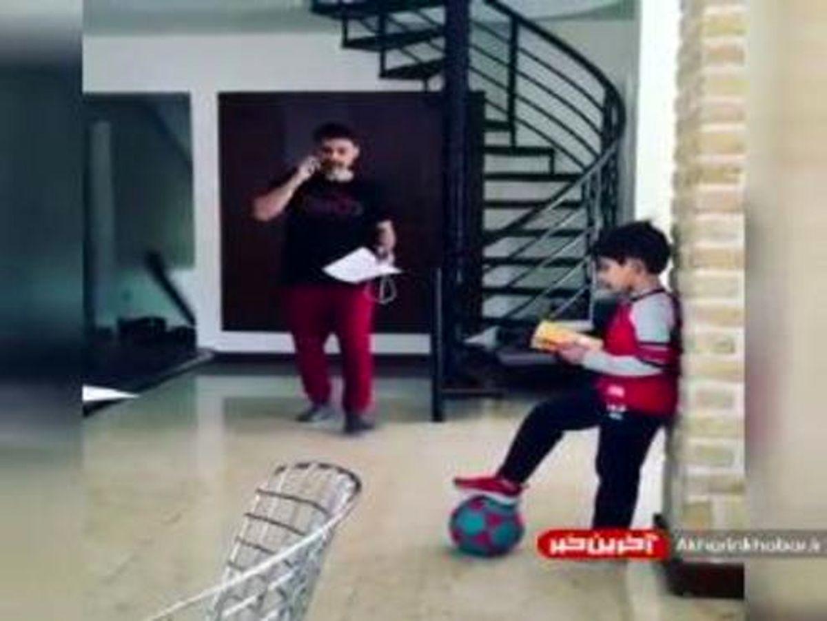 لایی خوردن پیمان معادی از پسرش! +فیلم