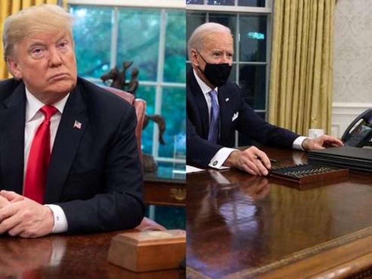 ماجرای دکمه جنجالی روی میز ترامپ که جو بایدن لو داد +عکس