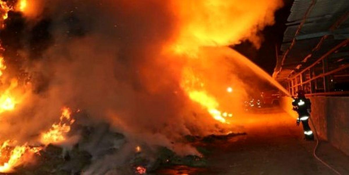 حجم گسترده آتش سوزی در منطقه شوش +فیلم