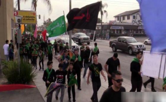 پیاده روی اربعین در شهر لس آنجلس آمریکا +فیلم
