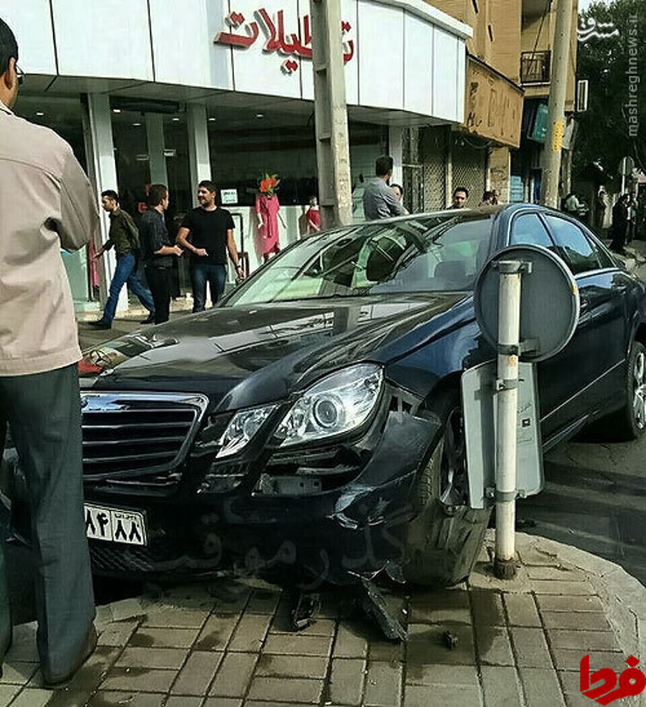 عکس: تصادف شدید مرسدس بنز در قزوین