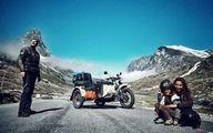 جهانگردی خانواده سه نفره با موتورسیکلت! +تصاویر