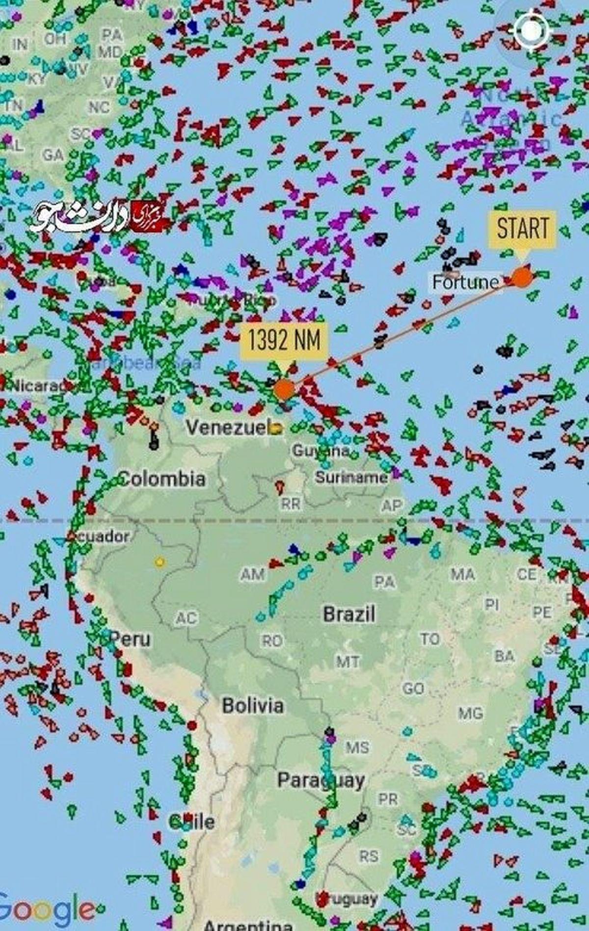 عکس: فاصله نفتکش ایرانی فورچن تا آبهای ونزوئلا!