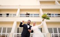 عکس یادگاری عروس و داماد مصری با محمد صلاح