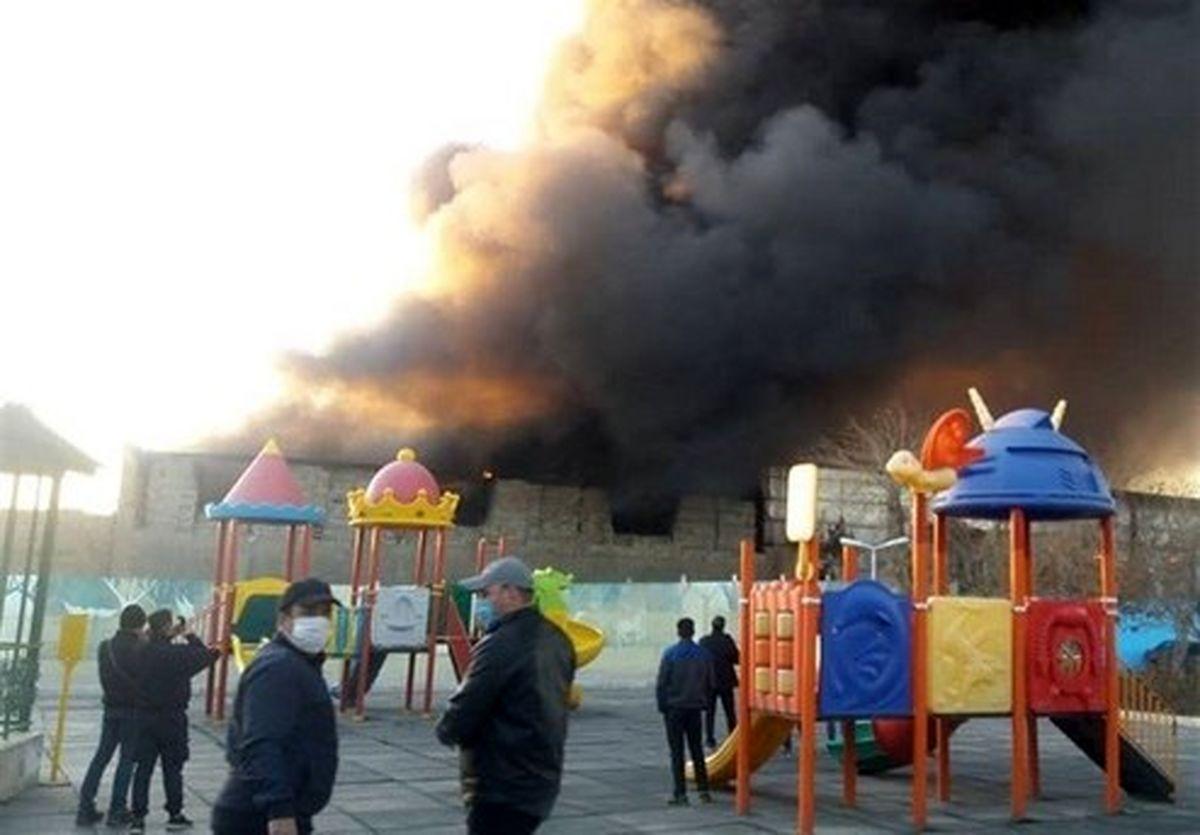 آتشسوزی در نزدیکی متروی شوش تهران +عکس و فیلم