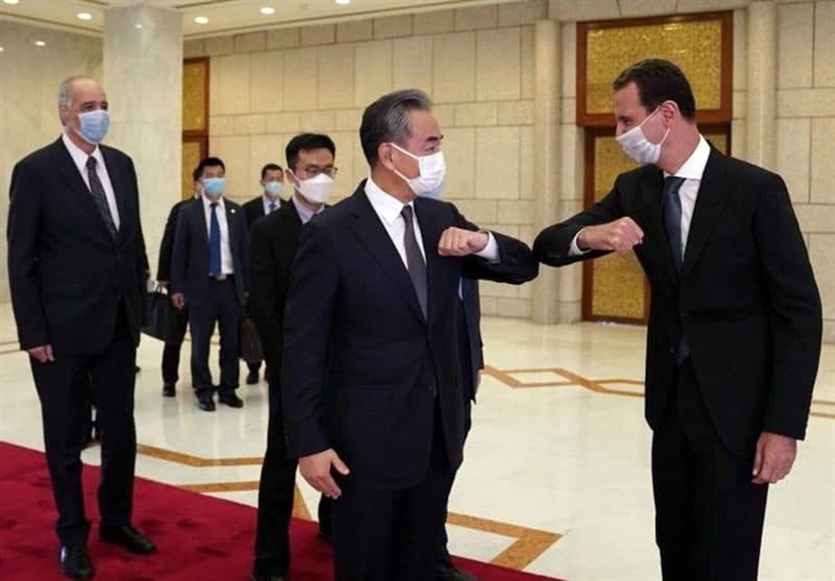 سلام کرونایی وزیر خارجه چین با بشار اسد +عکس