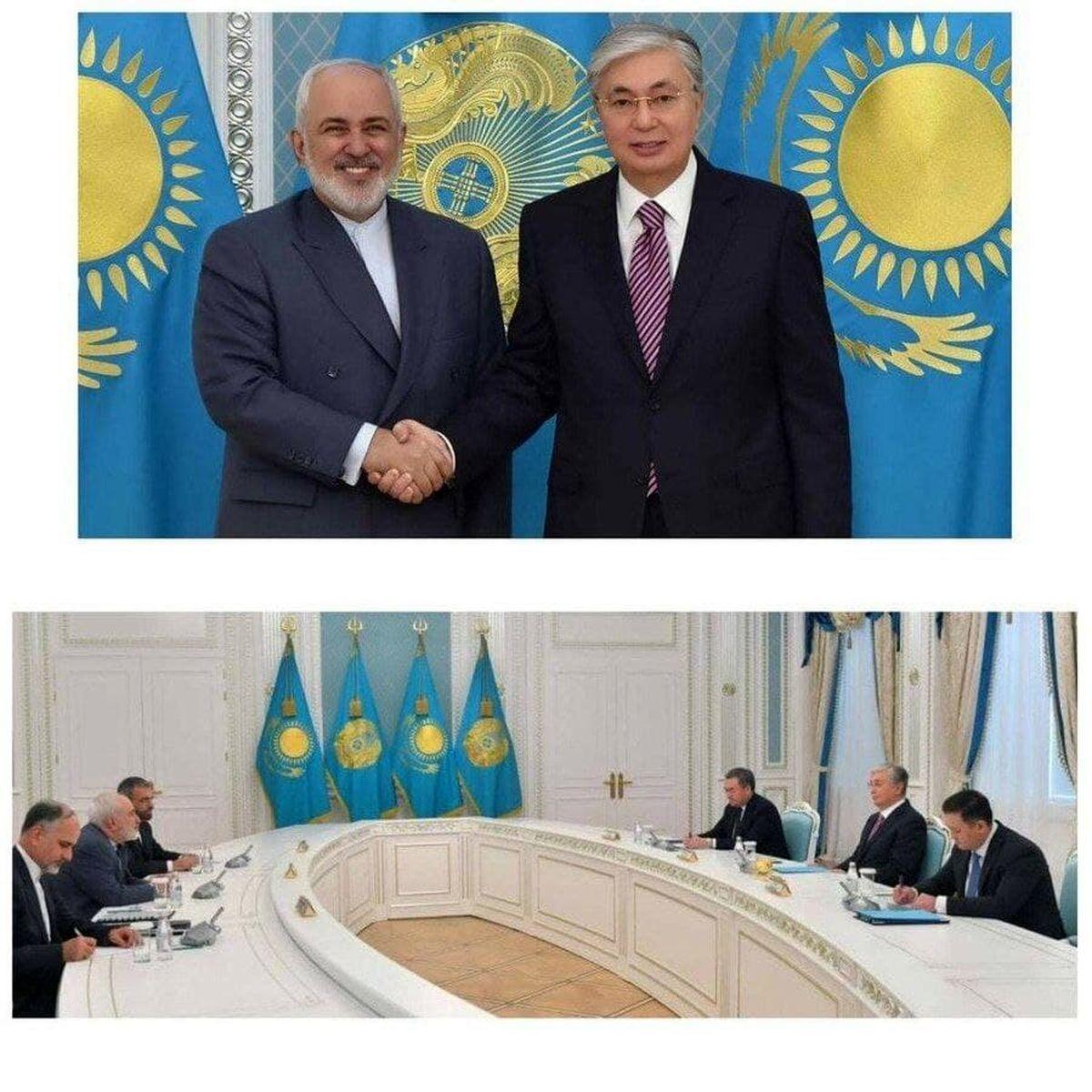 ظریف و رئیس جمهور قزاقستان دست دادند! +عکس