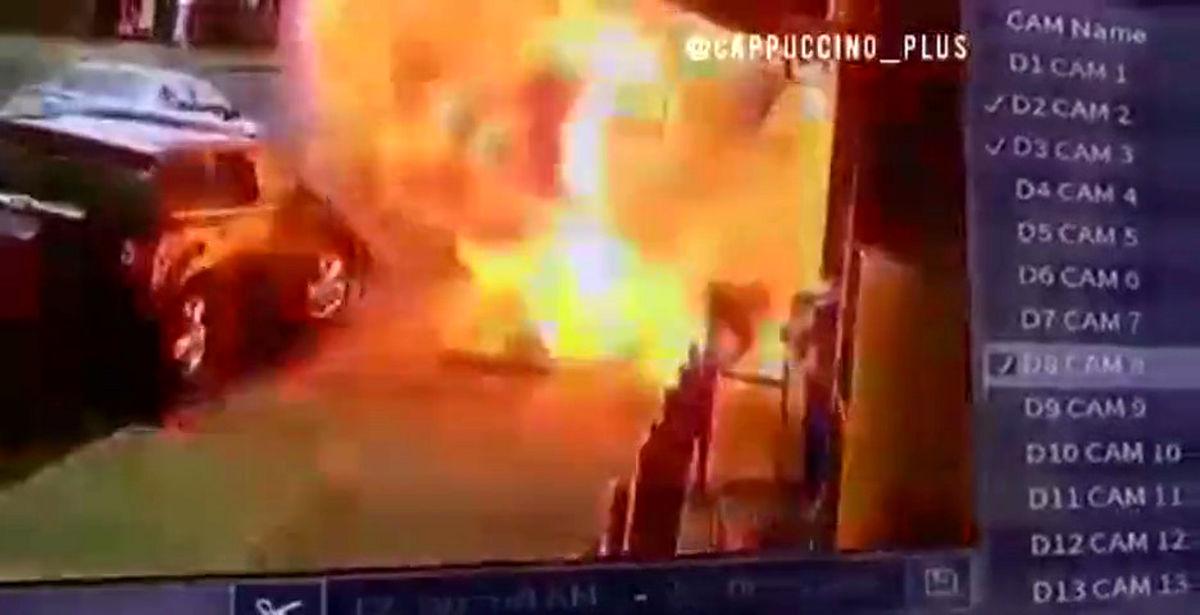 انفجار ناگهانی پیاده رو / نجات معجزه آسای مرد عابر +فیلم