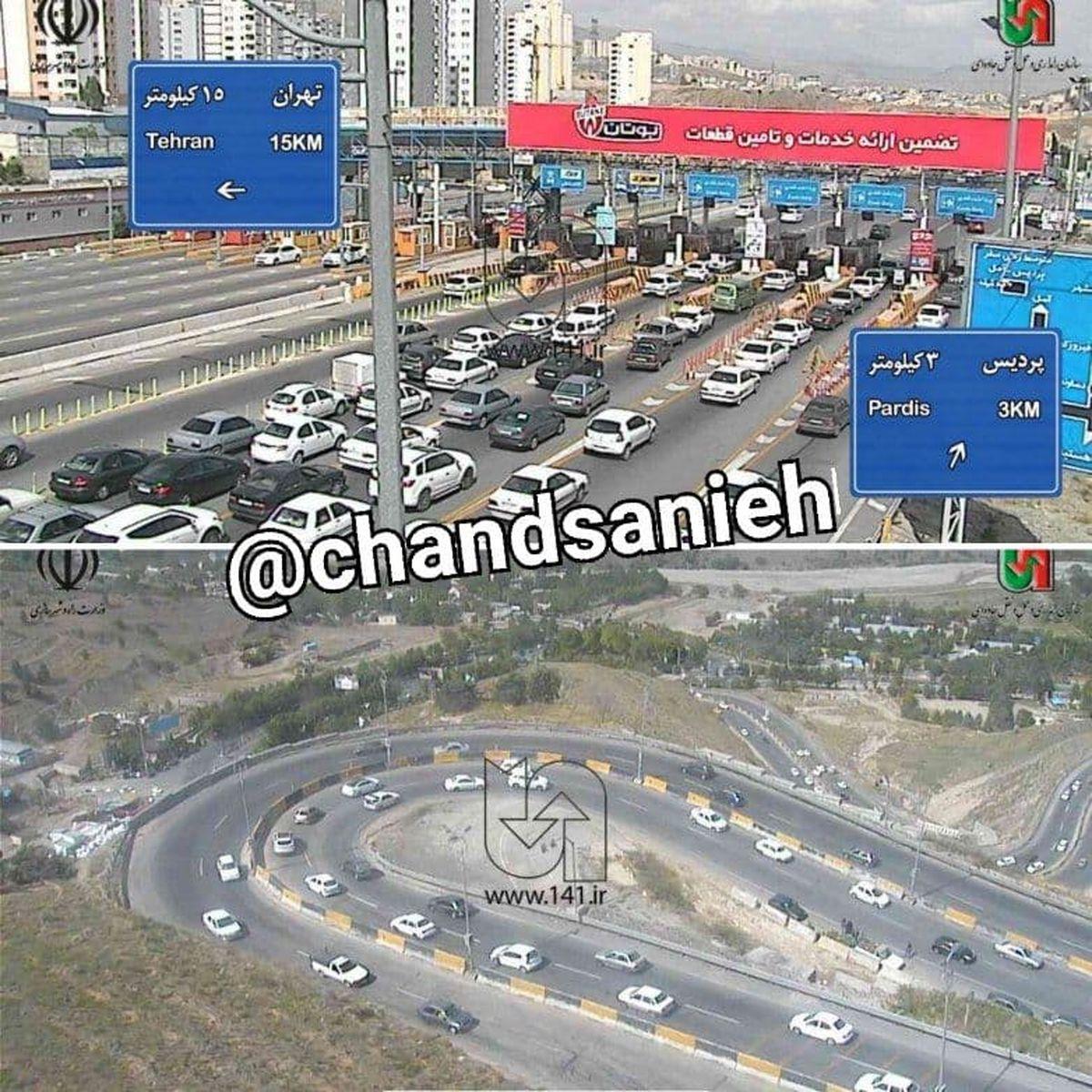 ترافیک سنگین در بزرگراه های شرق تهران +عکس