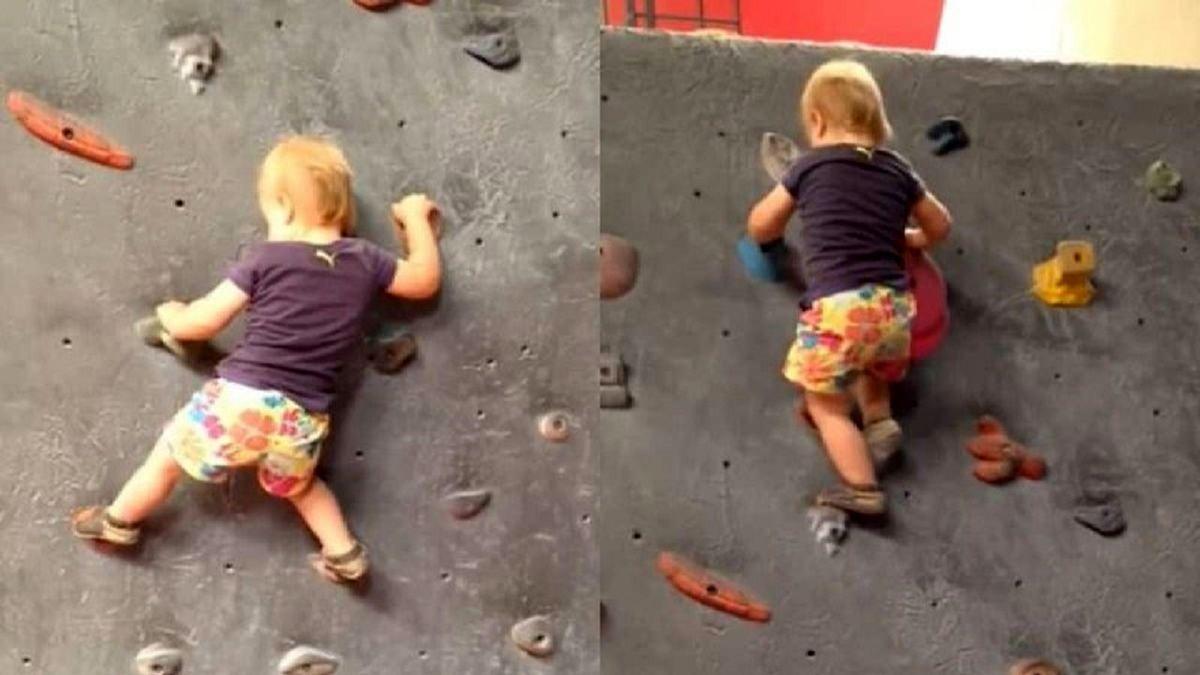 مهارت باورنکردنی یک کودک در سنگ نوردی + فیلم
