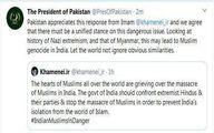قدردانی رئیس جمهوری پاکستان از رهبر انقلاب